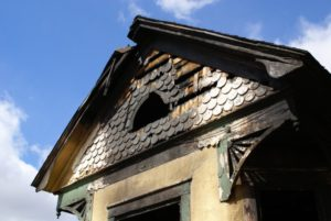 exterior of a home with fire damage